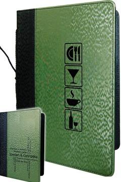 Speisekarte, schwarz/grün, A5, mit 8 Einschüben, 1 Stk.