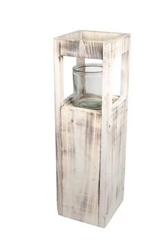 Kerzenhalter aus Holz, mit Glaseinsatz, 50cm, 1 Stk.