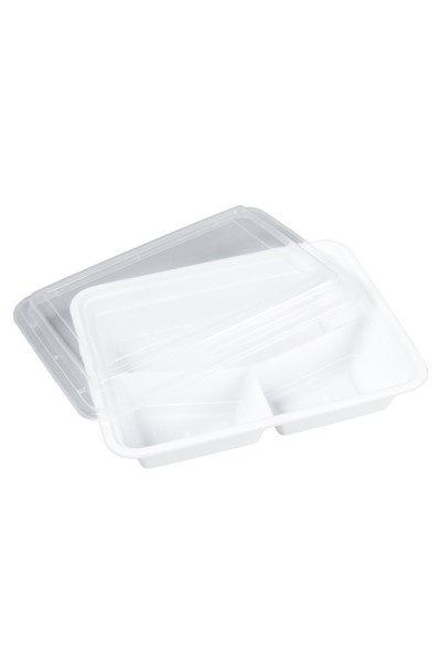 Menüboxen weiß, 23x18x6.5cm, 3-geteilt, 25 Stk.
