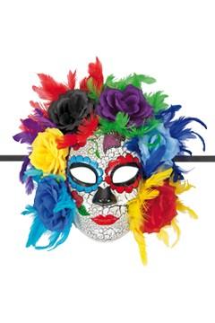 Maske mit Federn, Blumen und Bänder, ca. 31cm, 1 Stk.