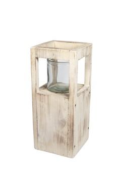 Kerzenhalter aus Holz, mit Glaseinsatz, 35cm, 1 Stk.