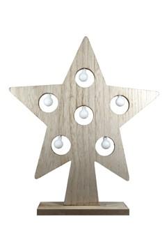 Stern aus Holz mit LED Licht 36 cm , 1 Stk.