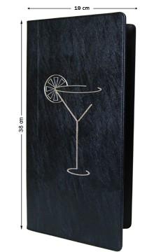 Barkarte, schwarz, 38x19cm, mit 8 Einschüben, 1 Stk.