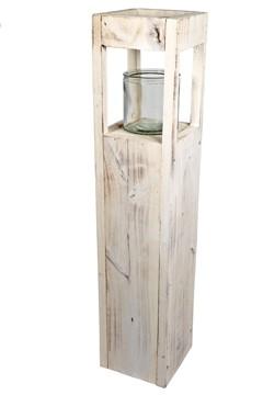 Kerzenhalter aus Holz, mit Glaseinsatz, 70cm, 1 Stk.