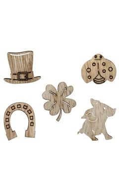 Glücksbringer aus Holz, natur, 5 Motive gemischt, 2.5 cm, 100 Stk.