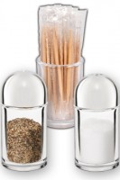 Menagen (Salz, Pfeffer, Zahnstocher) aus Acrylglas, Ø3.3cm, 7.3cm, 3 Stk.