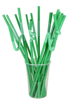 BIO Trinkhalme aus PLA, X-Flexi, grün, Ø6mm, 26cm, 150 Stk.