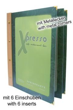 Folienkarte (PVC) grün, mit Holzrücken, 6 Seiten, A5, 1 Stk.