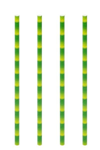 Trinkhalme aus Papier, Bambus-Optik, Ø6mm, 21cm, 100 Stk.