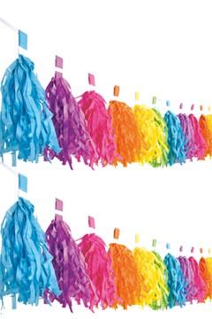 "Tassel-Girlande ""Farbenspiel"" aus Papier, schwer entflammbar, 3m"