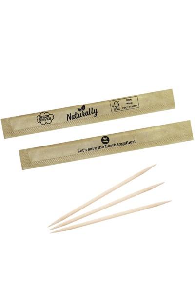 Zahnstocher aus Holz, rund, in ECO-Papier gehüllt, Ø2mm, 65mm, 1000 Stk.