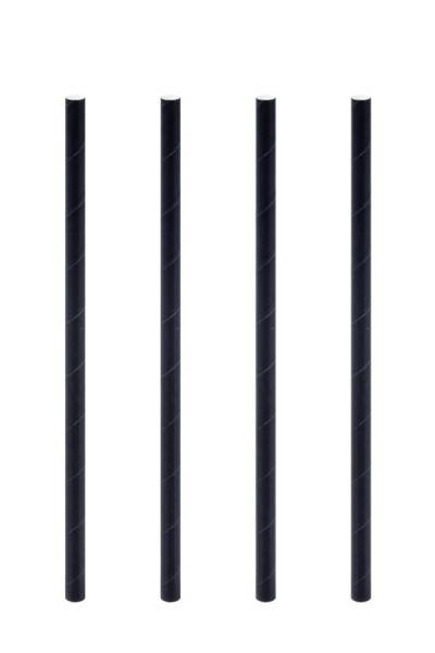 Trinkhalme aus Papier, schwarz, Ø6mm, 15cm, 500 Stk.