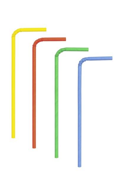 Trinkhalme aus Papier, flexibel, bunt, Ø6mm, 24cm, 100 Stk.