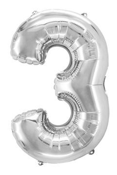 "Folienballon ""Zahl 3"", silber, ca. 80cm, 1 Stk."