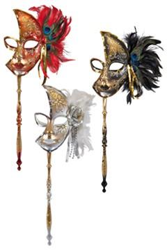 Maske mit Stab, schwarz, weiß und rot gemischt, ca. 22cm, 1 Stk.