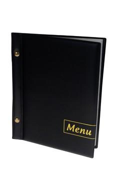 """Speisekarte (PVC) """"Menu"""" schwarz, 8 Seiten, A5, 1 Stk."""