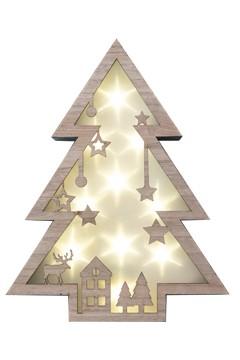 Weihnachtsbaum in Holzoptik mit LED-Lichter 40 cm