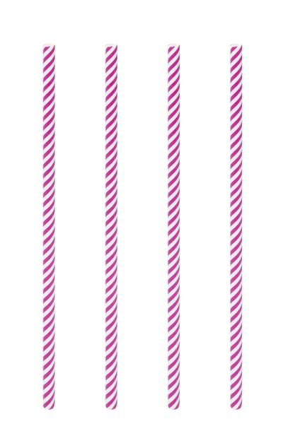 Trinkhalme aus Papier, pink/weiß, Ø6mm, 21cm, 100 Stk.