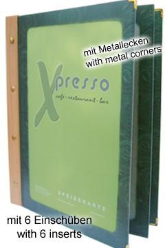 Folienkarte (PVC) grün, mit Holzrücken, 6 Seiten, A4, 1 Stk.