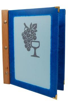 Folienkarte (PVC) blau, mit Holzrücken, 6 Seiten, A5, 1 Stk.