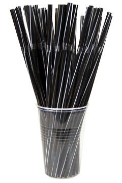 Trinkhalme, flexibel, schwarz mit weiß/goldenen Streifen, Ø6mm, 24cm, 250 Stk.